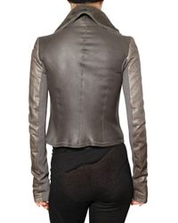 Rick Owens - Gray Asymmetric Shearling Biker Jacket - Lyst