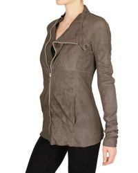 Rick Owens Natural Side Zip Blistered Nappa Leather Jacket