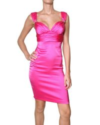 Roberto Cavalli Pink Silk Satin Stretch Dress