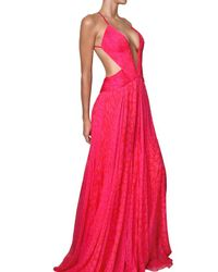 Roberto Cavalli Multicolor Leopard Print Silk Chiffon Long Dress