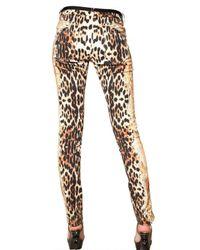 Roberto Cavalli Multicolor Leopard Print Stretch Drill Jeans