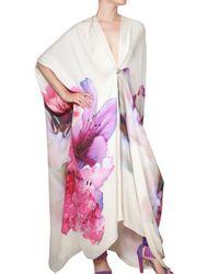 Roberto Cavalli Multicolor Flower Print Silk Chiffon Kaftan Dress