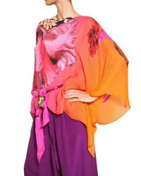 Roberto Cavalli | Multicolor Flower Print Silk Chiffon Shirt | Lyst