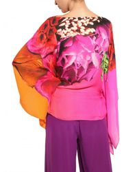Roberto Cavalli Multicolor Flower Print Silk Chiffon Shirt