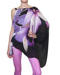 Roberto Cavalli - Black Printed Silk-Chiffon One-Shoulder Top - Lyst