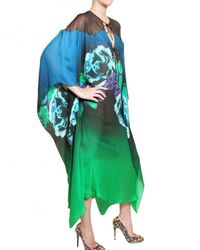 Roberto Cavalli Multicolor Printed Silk Chiffon Kaftan Dress