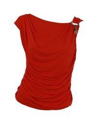 Roberto Cavalli | Orange Shoulder Ring Cowl Back Top | Lyst