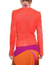 Roberto Cavalli Red Perforated Nappa Leather Jacket