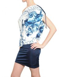 Roberto Cavalli Blue Printed Lycra Dress