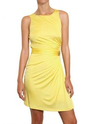 Roberto Cavalli | Yellow Jewelled Viscose Jersey Dress | Lyst