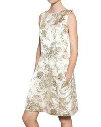 Rochas Metallic Damask Rayon Dress