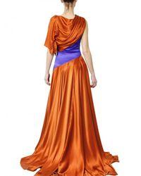 ROKSANDA - Brown Draped Silk Satin Dress - Lyst