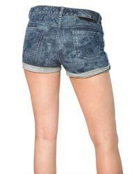 Stella McCartney Blue Palm Print Heavy Stretch Denim Shorts