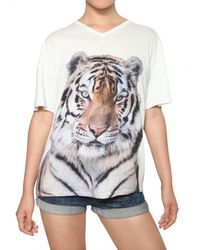 Stella McCartney White Tiger Print Cotton Jersey T-shirt