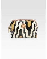 Tory Burch | Metallic Brigitte Print Cosmetic Case | Lyst