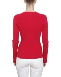 Tory Burch - Red Ribbed Cotton Stretch Knit Sweater - Lyst