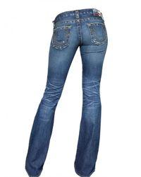 True Religion - Blue Destroyed Denim Flared Carrie Jeans - Lyst