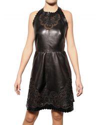 Valentino Black Perforated Nappa Dress