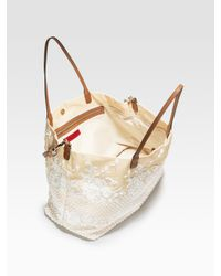 Valentino - Natural Glamorous Large Straw & Lace Tote Bag - Lyst