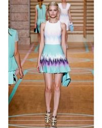 Versus Multicolor Printed Pleated Cady Stretch Dress