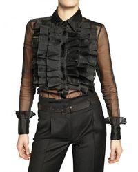 Viktor & Rolf | Black Ruffled Front Organza Shirt | Lyst