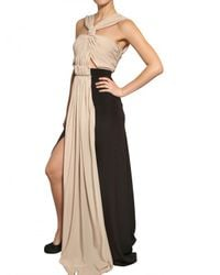 Vionnet Black Draped Crepe De Chine Long Dress