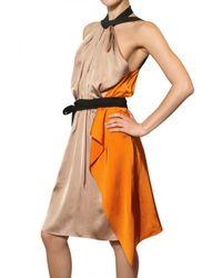 Vionnet - Metallic Draped Viscose Satin Dress - Lyst