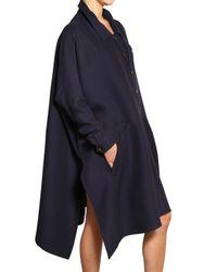 Vionnet Blue Silk Viscose Crepe Jersey A-line Coat