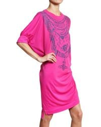 Vivienne Westwood Anglomania Pink Chain Print Oversized Jersey Tee Dress
