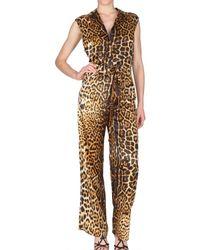 Saint Laurent | Multicolor Leopard Silk Satin Jumpsuit | Lyst