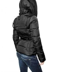 Add - Black Drawstring Hooded Nylon Down Jacket - Lyst