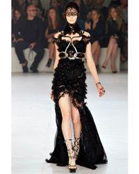 Alexander McQueen | Black Lace Viscose On Georgette Dress | Lyst