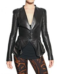 Alexander McQueen | Black Ruffled Nappa Leather Jacket | Lyst