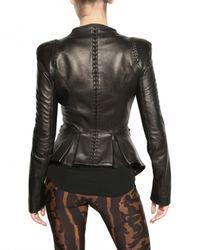 Alexander McQueen | Black Ruffled Nappa Leather Jacket | Lyst