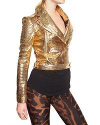 Alexander McQueen - Metallic Laminated Python Leather Jacket - Lyst