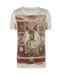 AllSaints Natural Muerte S/s Cut Collar T-shirt for men