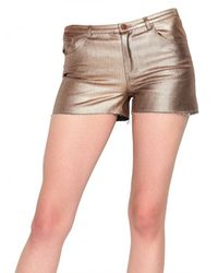 American Retro | Metallic Denim Stretch Shorts | Lyst