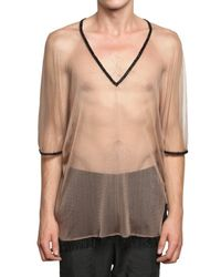 Ann Demeulemeester | Natural Pearl Piping Silk Mesh T-shirt for Men | Lyst