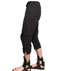 Ann Demeulemeester - Black Cotton Rayon Jersey Cropped Trousers for Men - Lyst