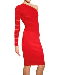 Antonio Berardi - Red One Shoulder Milano Stitch Dress - Lyst