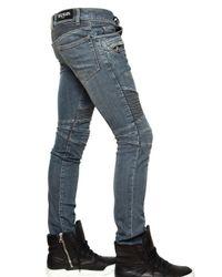 Balmain - Blue 17cm Washed Denim Biker Jeans for Men - Lyst