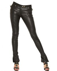 Balmain | Black Biker Stretch Nappa Leather Trousers | Lyst