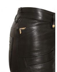 Balmain - Black Biker Stretch Nappa Leather Trousers - Lyst