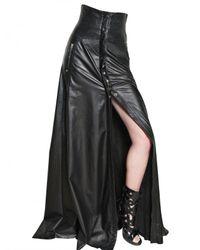Balmain | Black High Waisted Long Leather Skirt | Lyst