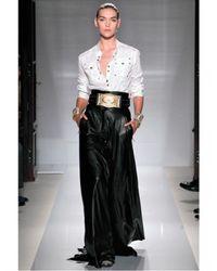Balmain - Black High Waisted Long Leather Skirt - Lyst