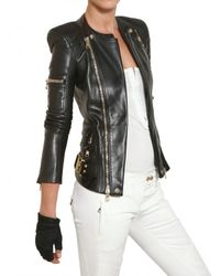 Balmain - Black Nappa Biker Leather Jacket - Lyst