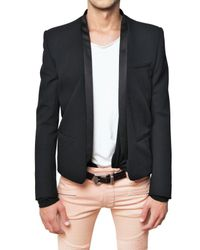 Balmain | Black Satin Revere Grain De Poudre Jacket for Men | Lyst