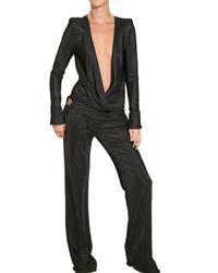 Balmain | Black Textured Viscose Jersey Jumpsuit | Lyst