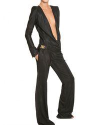 Balmain   Black Textured Viscose Jersey Jumpsuit   Lyst