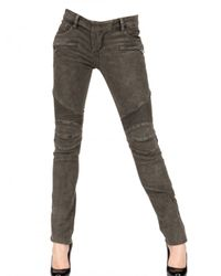 Balmain | Black Washed Fustian Biker Jeans | Lyst